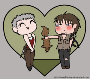 Carol and Daryl Chibi Valentine by nasubionna on deviantart